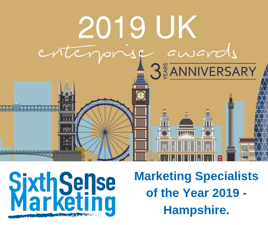 Sixth Sense Marketing - Marketing Specialists of the Year 2019. Hampshire