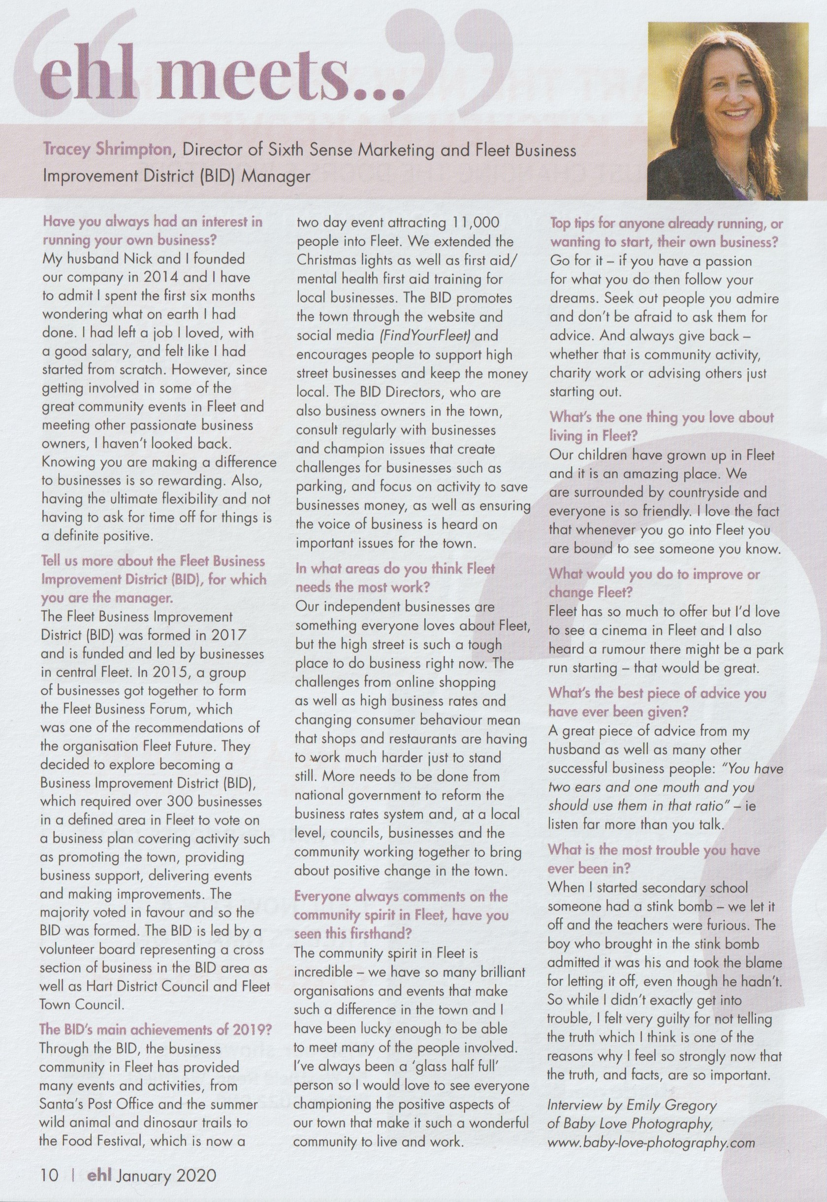 Tracey Shrimpton interview with Elvetham Heath Life