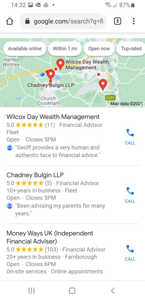 Google My Business for SJP Partners